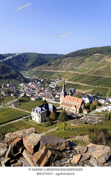 View of Mayschoss, vinyards, Ahrtal Valley, Eifel Range, Rhineland-Palatinate, Germany, Europe