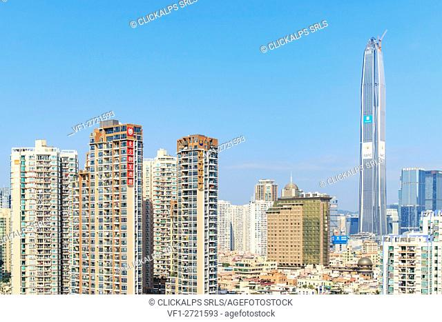 Shenzhen skyline with the KK100, the second tallest building of the city, on background, China