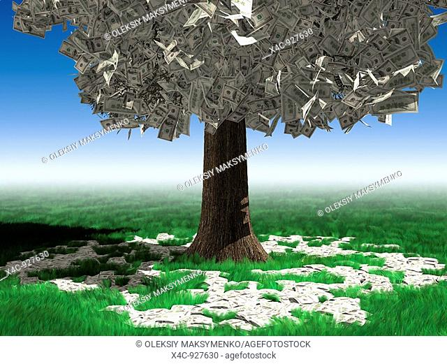 Money tree in a middle of a field with hundred dollar bills lying on vivid green grass