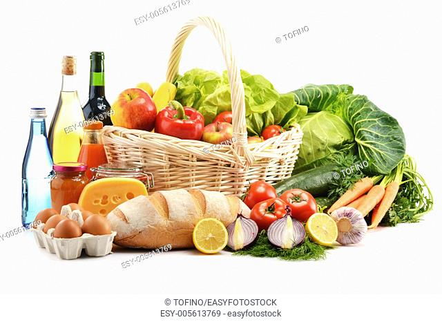 Composition with assorted grocery products isolated on white background