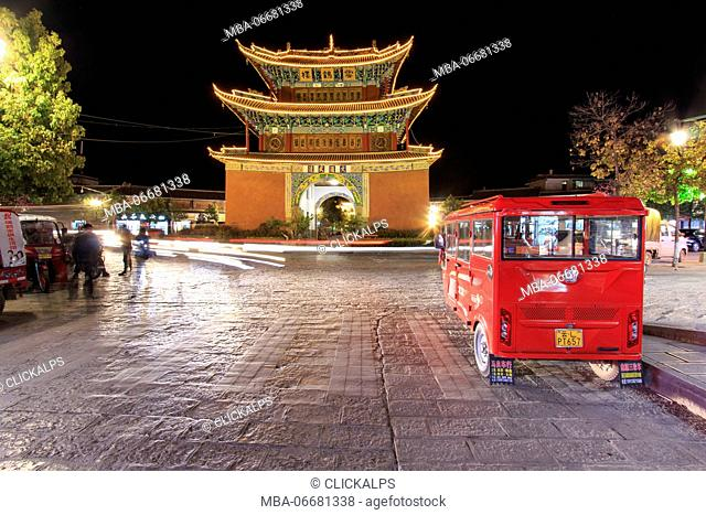 Night view of the Pagoda in the city center of Heqing in Yunnan. This pagoda is the landmark if the city. Yunnan, China