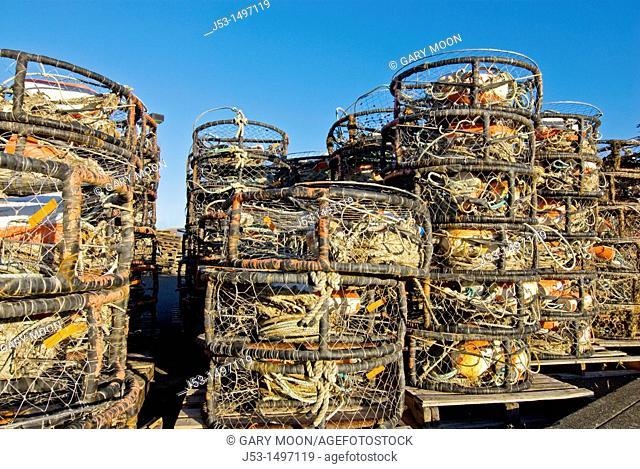 Stacks of crab pots traps near commercial fishing harbor, Eureka, California