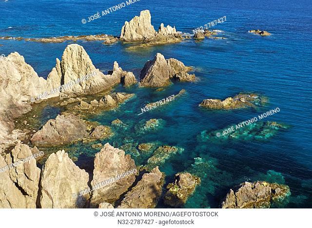 Cabo de Gata, Reef of the Mermaids, Cabo de Gata-Nijar Natural Park, Arrecife de las Sirenas, Biosphere Reserve, Almeria province, Andalucia, Spain