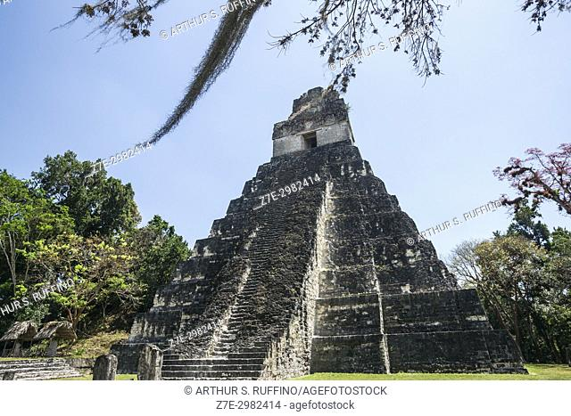 Temple I, Great Jaguar Temple, Tikal, Guatemala, Central America