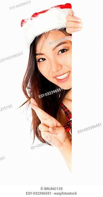 Attractive sexy santa claus asian girl in her 20s isolated on a white background