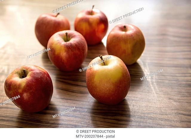 Close-up of apples on table, Munich, Bavaria, Germany