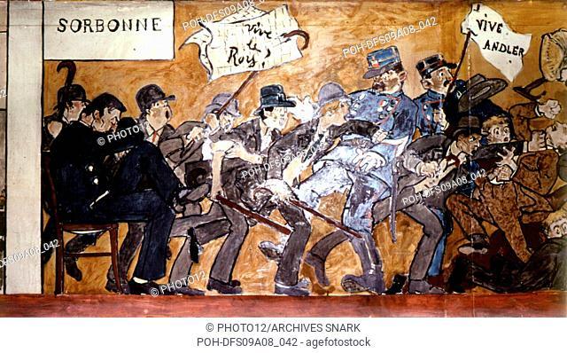 F. Poncet Fresco of the Ecole normale supérieure (French Grande école for training of teachers) (detail). Riots at the Quatier latin, Paris