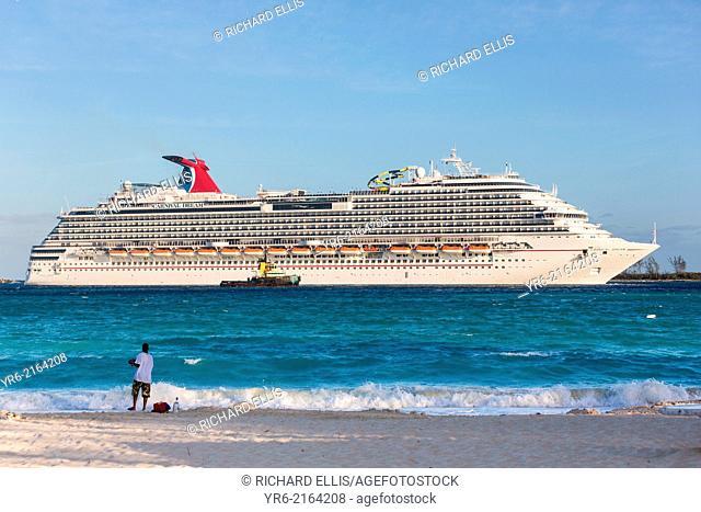 The Carnival Dream cruise ship entering the harbor Nassau, Bahamas, Caribbean