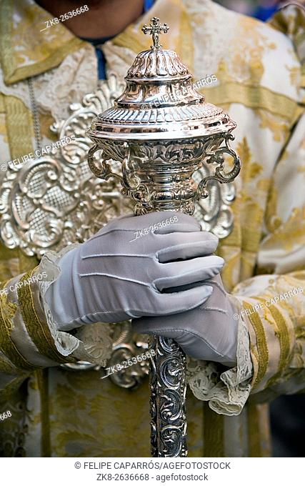 Dalmatic or white robe in a liturgical act of Holy Week, sceptre of silver, Spain