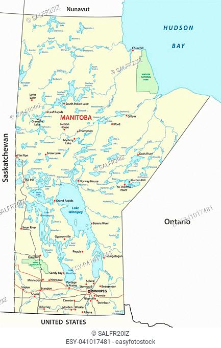 Province manitoba administrative and political map
