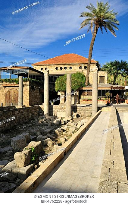 Antique coloumns in the historic town of Byblos, Unesco World Heritage Site, Jbail, Jbeil, Lebanon, Middle East, West Asia