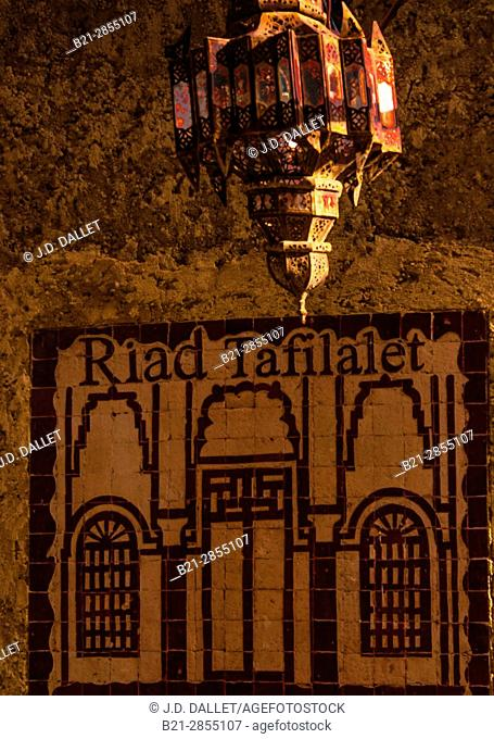 "Morocco, Fes, street sign of """"Riad Tafikalet"""" in the Medina of Fes"