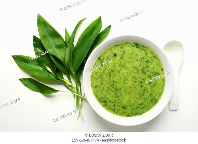 Fresh wild garlic soup on white background overhead shoot