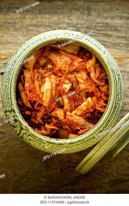 Kimchi (lactose-fermented vegetables, Korea) in a ceramic jar