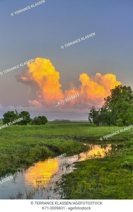 Cloud formation at sunset near Winkler, Manitoba, Canada