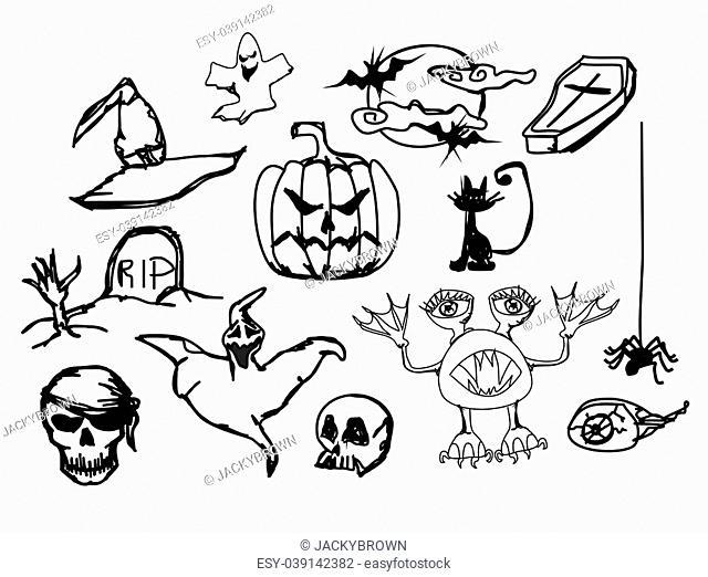 Set with halloween doodles, vector illustration