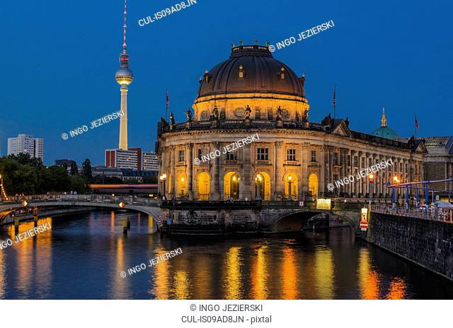 Bode Museum on Museum Island with Spree River in foreground and TV Tower in background, Berlin, Germany