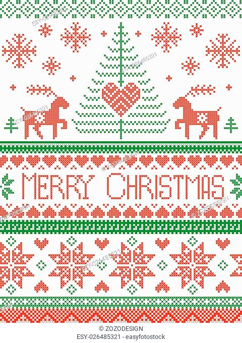Scandinavian style and Nordic culture inspired Christmas and festive winter seamless pattern in cross stitch style with Xmas trees, snowflakes, stars, reindeer