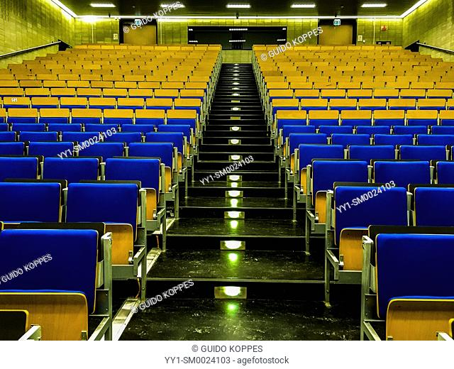Tilburg, Netherlands. Non occupied college class room at Tilburg University, juste prior to an academic examination, to be made by 160+ Students
