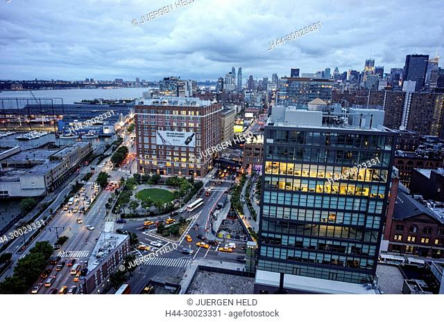 View from Standard Hotel Top Floor to Meatpacking district, High Line, New York City