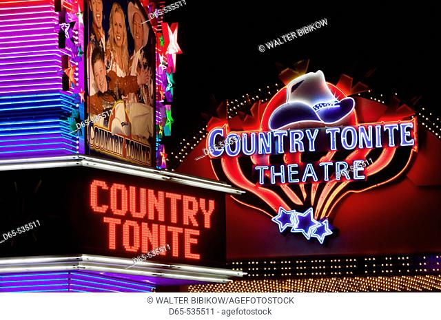 Country Music Mecca of the Midwest. Country Tonite Theater Marquee. Branson. Missouri. USA