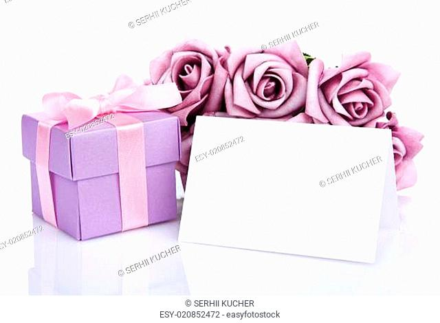 blank card with purple flowers and gift