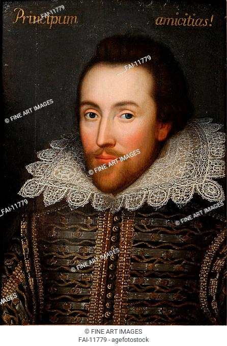 The Cobbe portrait of William Shakespeare (1564-1616). Anonymous . Oil on canvas. Baroque. c. 1610. Private Collection. Painting