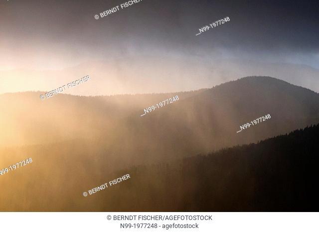 Vosges, Col de la Schlucht, rain and sun, Alsace, France