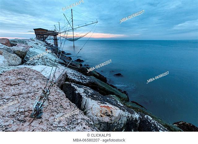 Europe, Italy, Veneto, Chioggia, Sottomarina, View of the Casoni, the stilt house of fishermen on the sea