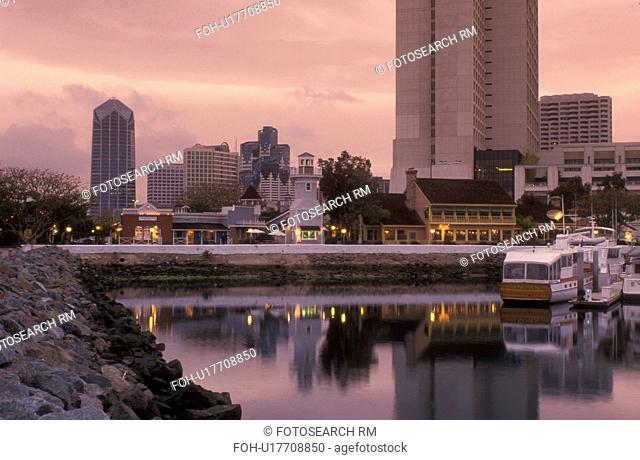 shopping center, San Diego, California, CA, Seaport Village a modern shopping and dining complex on San Diego Bay and the downtown skyline of San Diego in the...