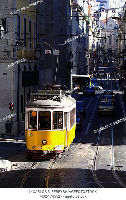 Tram in downtown of Lisbon, Portugal, Europe