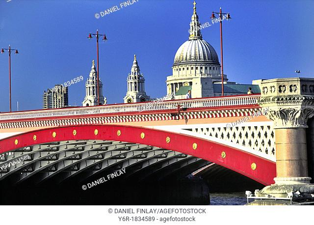 London view with Blackfriar's Bridge over the River Thames and St  Paul's Cathedral on a sunny Summers day in England, UK