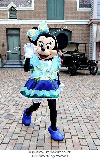 Minnie Mouse waving, Disneyland, Hong Kong, China, Asia