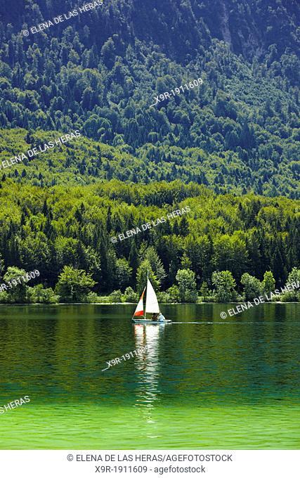 Sailboat into the Bohinj lake, in Bohinj, Triglav National Park, Gorica region, Slovenia, Balkans States