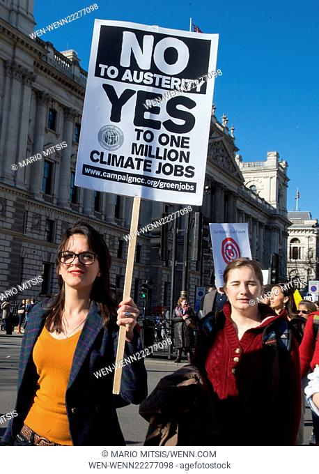 Tens of thousands attend the The People's Climate March in London. The demonstration is to highlight and show support for the crucial climate talks in Paris...