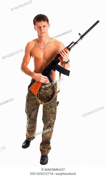 Soldier with Kalashnikov isolated on white