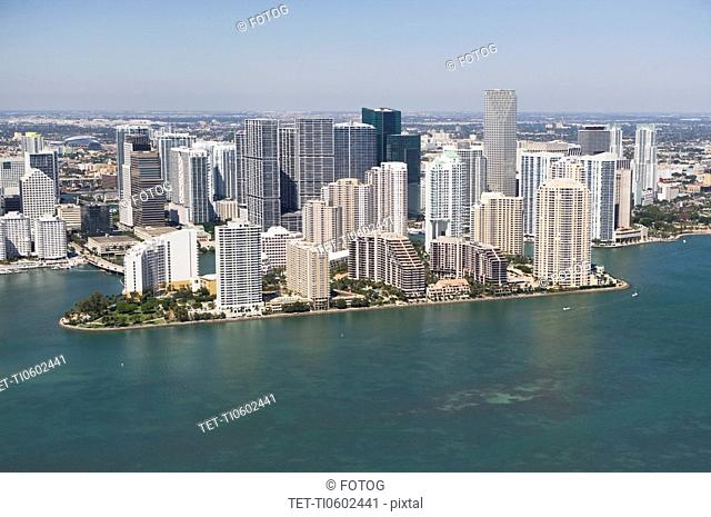 USA, Florida, Miami, Cityscape with coastline