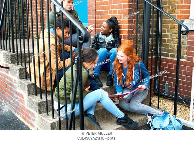 Young adult college student friends chatting and revising on campus stairs
