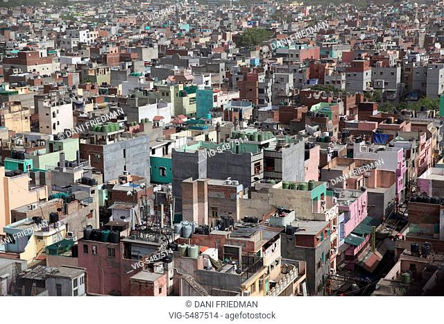 Aerial view of a buildings in Old Delhi, India. - OLD DELHI, DELHI, INDIA, 10/07/2014