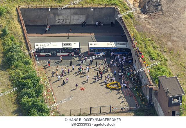Aerial view, memorial commemorating the 21 victims of the 2010 Love Parade at the tunnel of Karl-Lehr-Strasse street, former rail freight depot, Duisburg