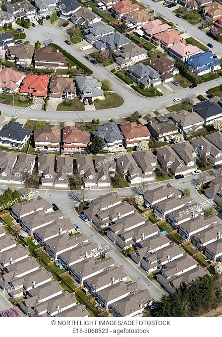 Canada, BC, Delta. Aerial view of suburban homes