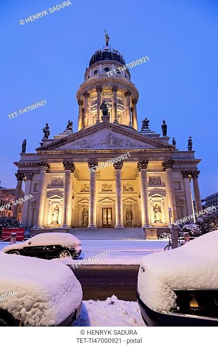 Illuminated French Cathedral in winter