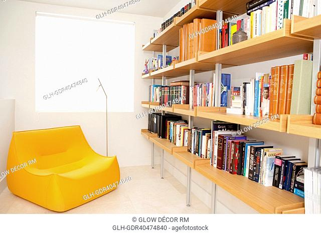 Bookshelf and a chair in the living room