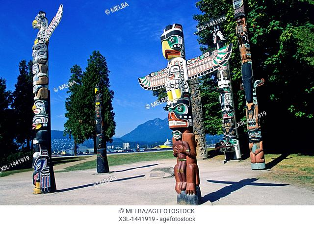 Totem posts, Stanley park, Vancouver  British Columbia  Canada