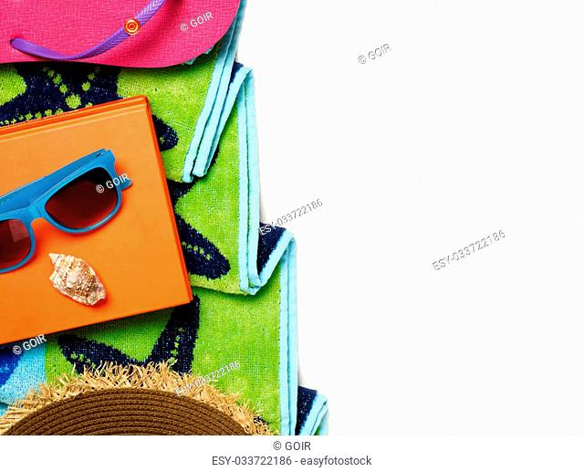 Beach accessories isolated on white