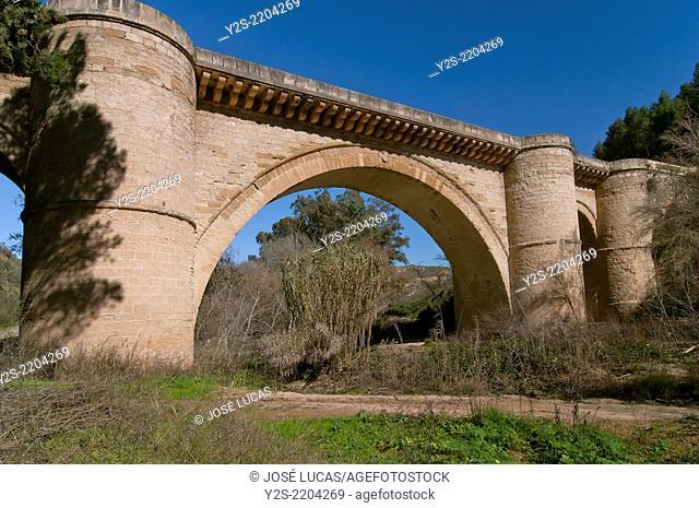 Renaissance bridge and river Genil, 16th century, Benameji, Cordoba-province, Region of Andalusia, Spain, Europe