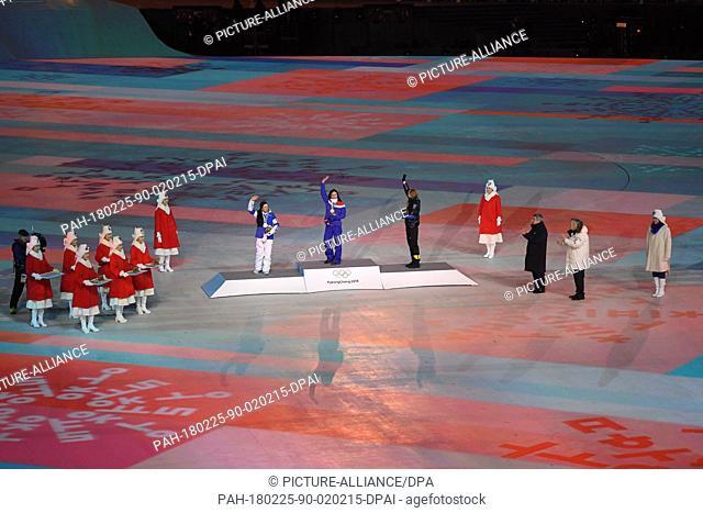 25 February 2018, South Korea, Pyeongchang: Olympics, Closing Ceremony, Olympic Stadium: Winner of the cross-country skiing event