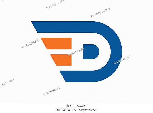 letter D abstract fast concept logo icon