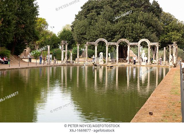 colonnade at the end of the Canopus at Hadrian's Villa, Tivoli, Italy