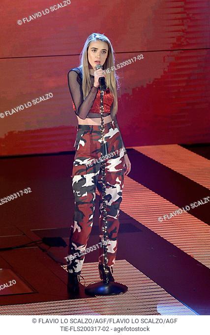 The singer Olivia O'Brien during the tv show Che tempo che fa, Milan, ITALY-19-03-2017